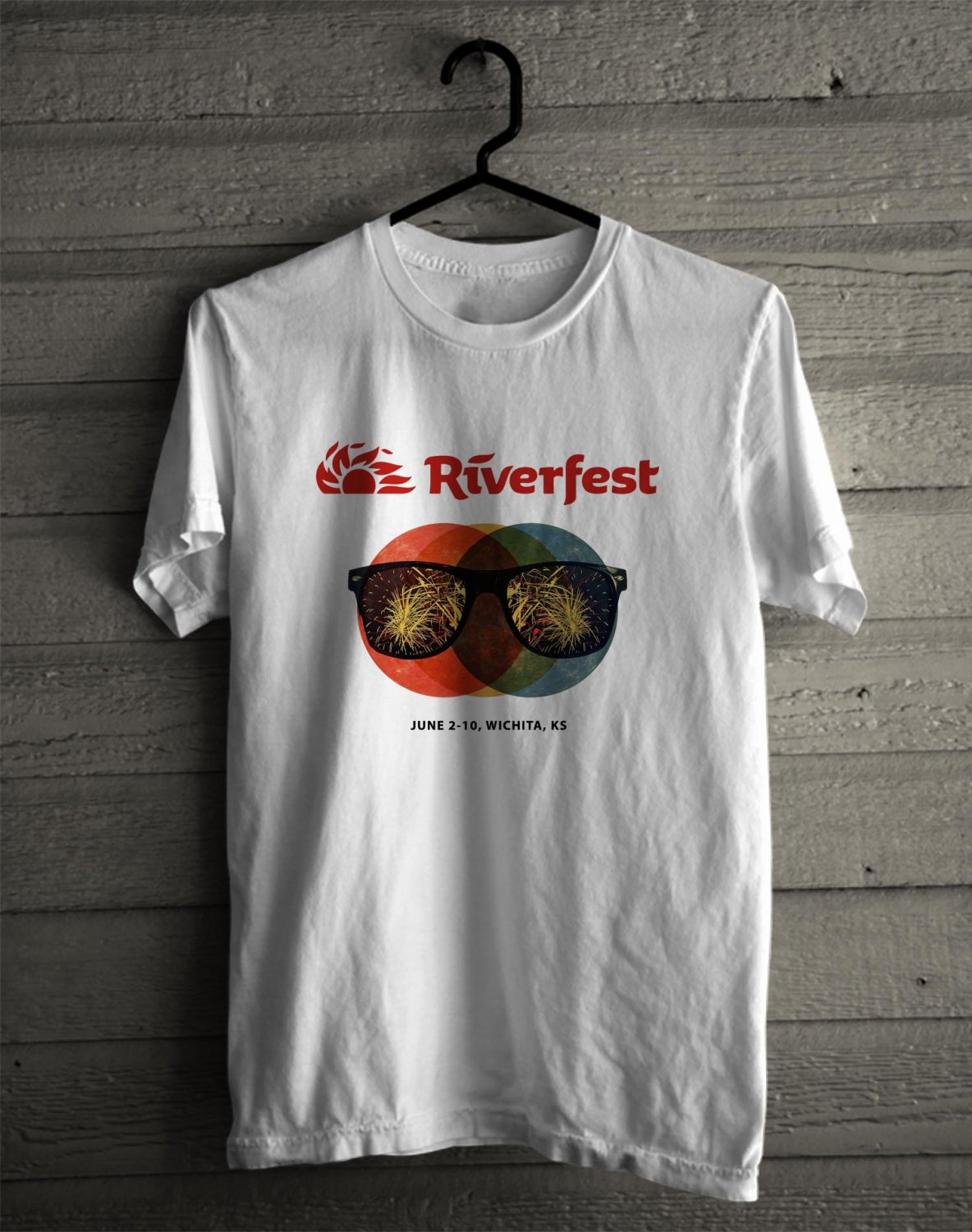 Wichita River Festival 2017 White Tee's Front Side by Complexart