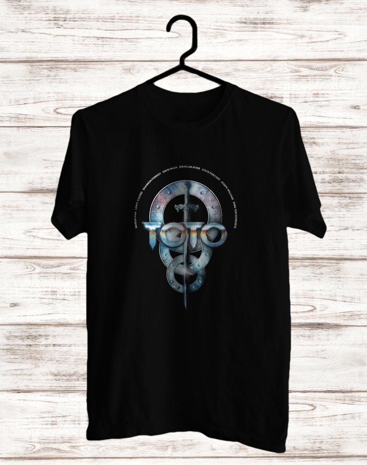 Toto Band Logo 2017 Black Tee's Front Side by Complexart z1