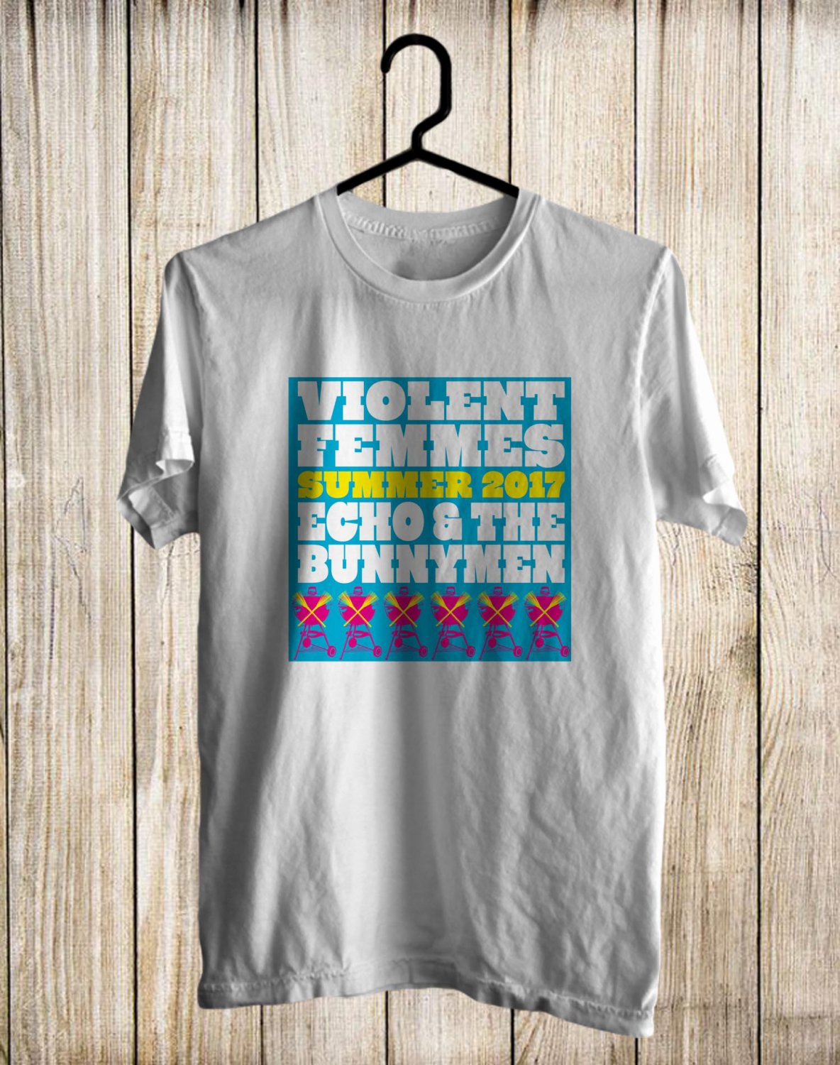 Violent Femmes and Echo&The Bunnymen Tour 2017 White Tee's Front Side by Complexart