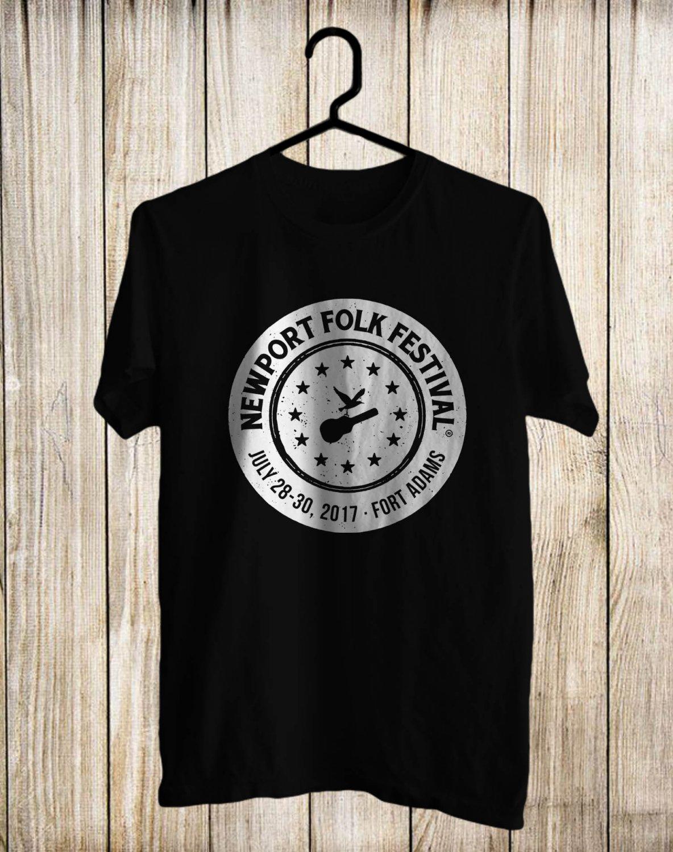 New Port Folk Festival logo Black Tee's Front Side by Complexart z1