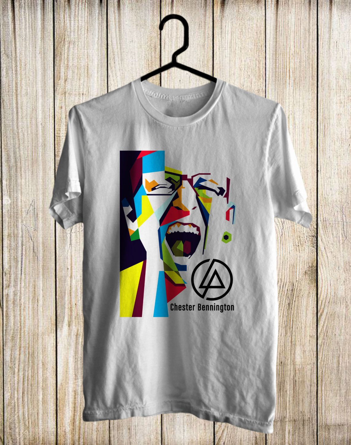 RIP Chester Bennington Linkin Park Vocalis White Tee's Front Side by Complexart