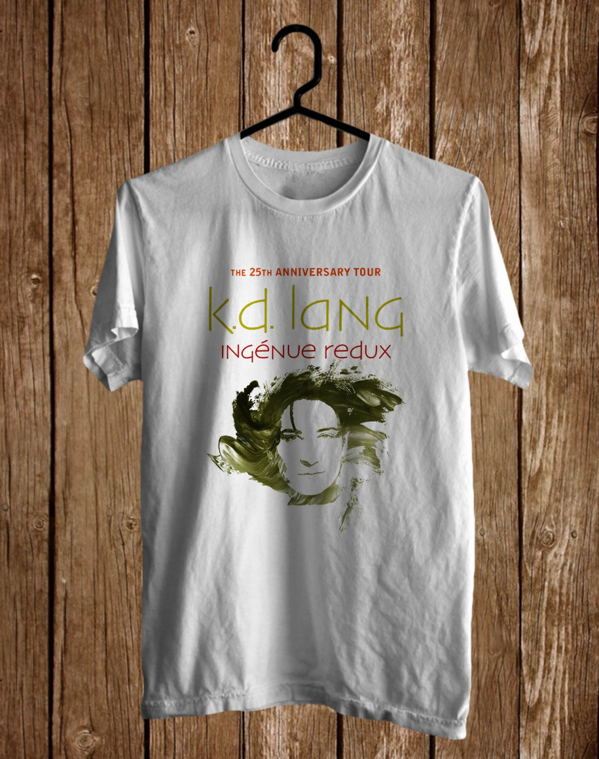 K.D. Lang Ingenue Redux 25th Anniv White Tee's Front Side by Complexart z1
