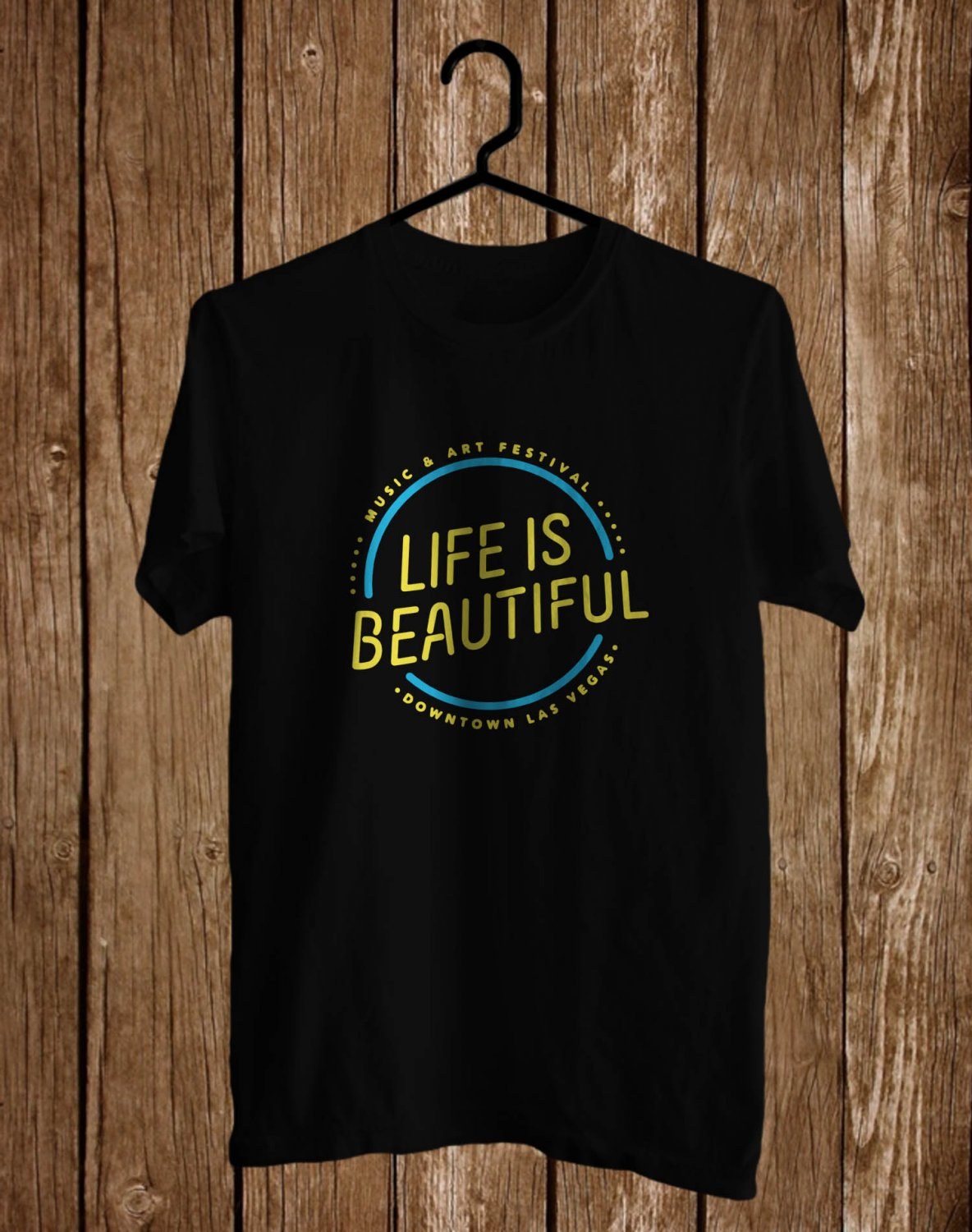 Life of Beautiful Music Festival Logo Black Tee's Front Side by Complexart