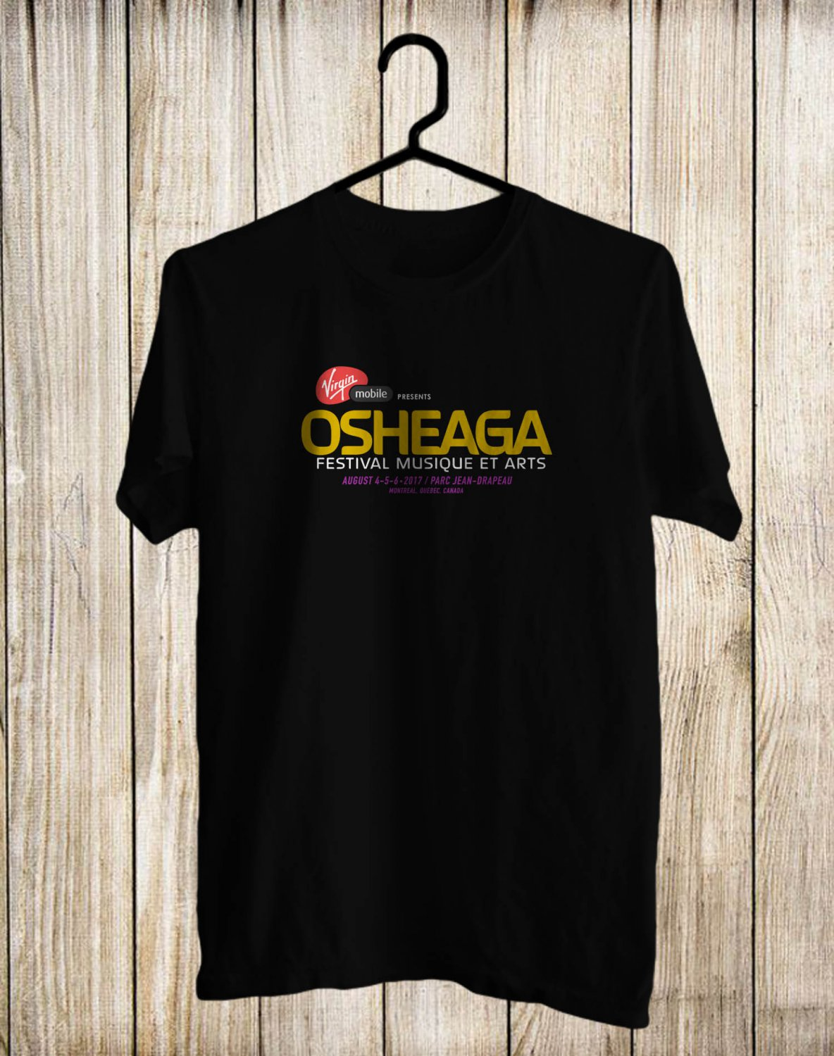 Osheaga Music Festival Logo 2017 Black Tee's Front Side by Complexart