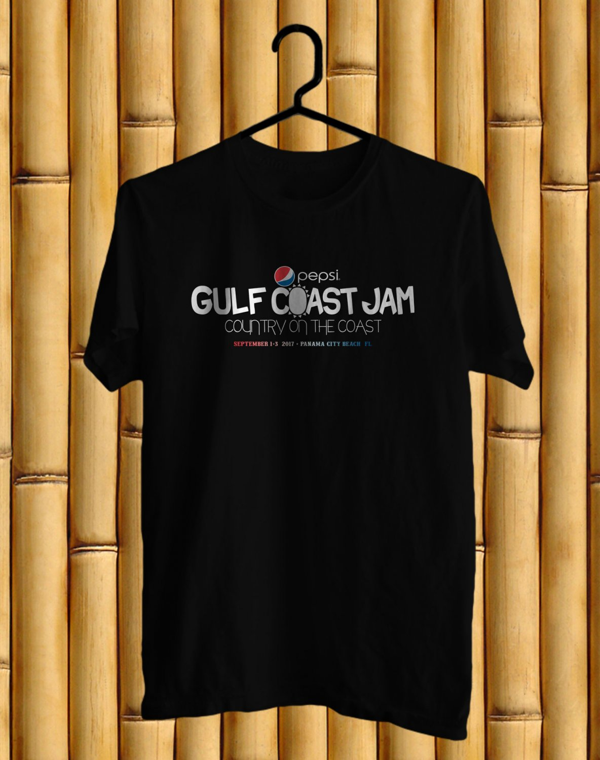 Pepsi Gulf Coast Country Jam 2017 Black Tee's Front Side by Complexart