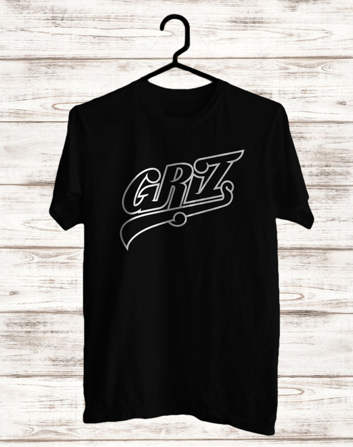 Grizz Logo Black Tee's Front Side by Complexart z1