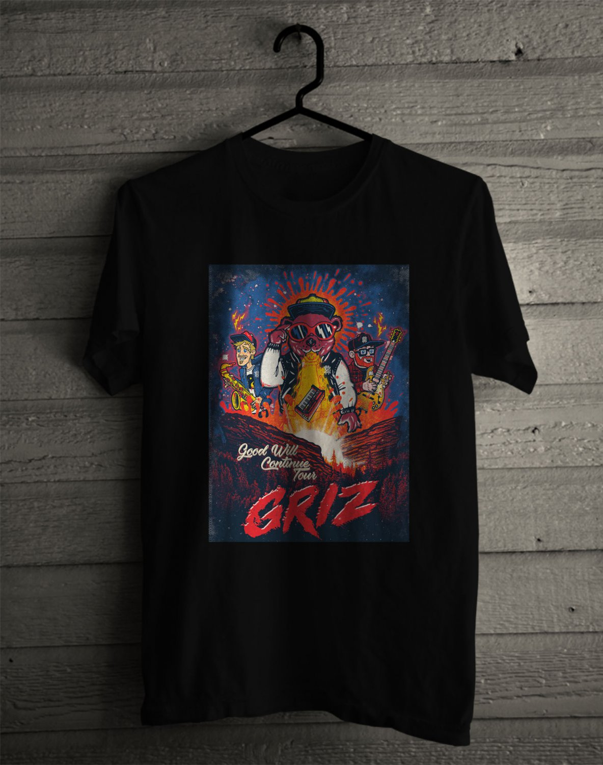 Grizz Good Will Continue Tour 2017 on Red Rock Amphiteater Black Tee's Front Side by Complexart z1