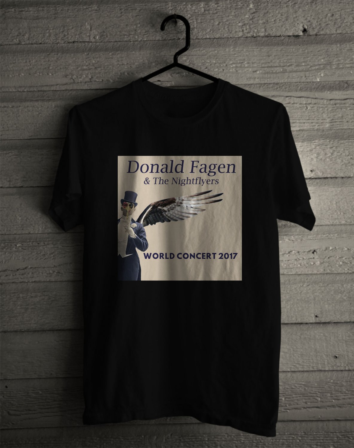 Donald Fagen and The Nightflyers Tour 2017 Black Tee's Front Side by Complexart z1