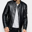 Mens Black Leather Racing Biker Jackets with Lined Inner Design
