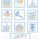 Happy Birthday Blue/Green - 10 piece set