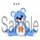 Rainbow Bear Blue Left - Printed Paper Piece