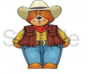 Cowboy Bear -  Printed Paper Piece