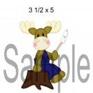 Camping Moose w/Marshmallows right -  Printed Paper Piece