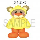 Bear In Chick Outfit -  Printed Paper Piece