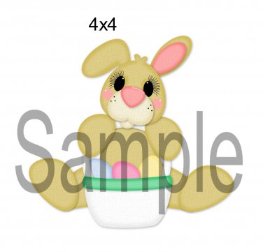Sitting Bunny w/Basket right -  Printed Paper Piece