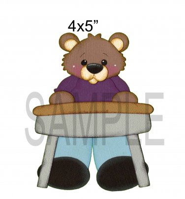 Boy at desk Bear -  Printed Paper Piece