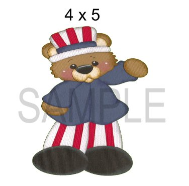 Uncle Sam Bear -  Printed Paper Piece