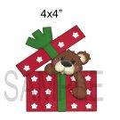 Christmas Present Bear -  Printed Paper Piece
