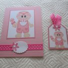 """Baby Girl 1 - 5x7"""" Greeting Card with Matching Tag and envelope"""