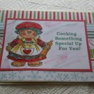 """Cooking Something Special Girl w/pin - 5x7"""" Greeting Card with envelope"""