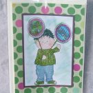 "Birthday Balloon Boy 3 - 5x7"" Greeting Card with envelope"