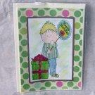 "Birthday Balloon Boy 4 - 5x7"" Greeting Card with envelope"