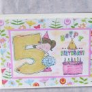 """Happy 5th Birthday Girl - 5x7"""" Greeting Card with envelope"""