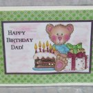 "Happy Birthday Dad Bear w/cake - 5x7"" Greeting Card with envelope"