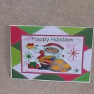 "Happy Holidays Bear with Present - 5x7"" Greeting Card with envelope"