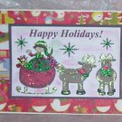 """Happy Holidays Elf and Deer  - 5x7"""" Greeting Card with envelope"""