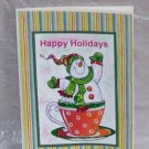 """Happy Holidays Snowman In Cup - 5x7"""" Greeting Card with envelope"""