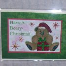 """Have A Beary Christmas Bear 2w/Present  - 5x7"""" Greeting Card with envelope"""