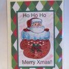 "Ho Ho Ho Merry Xmas Santa In Glove - 5x7"" Greeting Card with envelope"