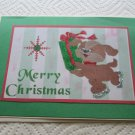 """Merry Christmas Dog w/Present a - 5x7"""" Greeting Card with envelope"""