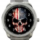 USA Flag Skull Sport Metal Watch