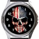 USA Flag Skull Round Metal Watch