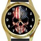 USA Flag Skull Gold Metal Watch