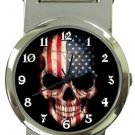 USA Flag Skull Money Clip Watch