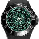 Green Magic Circle Plastic Sport Watch In Black
