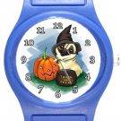 Cute Pug Halloween Blue Plastic Watch