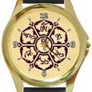 Meditation Mantra Gold Metal Watch