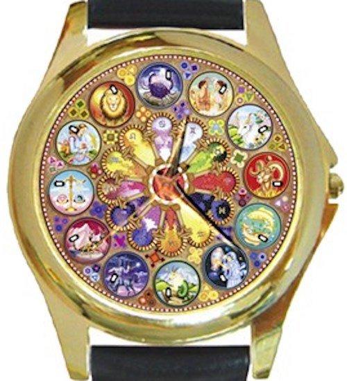 Beautiful Mandala Astrology Gold Metal Watch