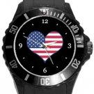 I Love USA Flag Plastic Sport Watch In Black