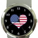 I Love USA Flag Money Clip Watch