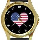 I Love USA Flag Gold Metal Watch