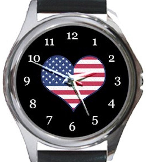 I Love USA Flag Round Metal Watch
