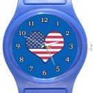 I Love USA Flag Blue Plastic Watch