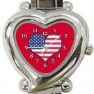 I Love USA Flag Heart Italian Charm Watch