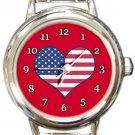 I Love USA Flag Round Italian Charm Watch