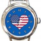 I Love USA Flag Round Blue Italian Charm Watch